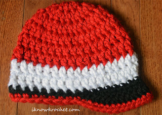 red white and black Utes fan crochet hat