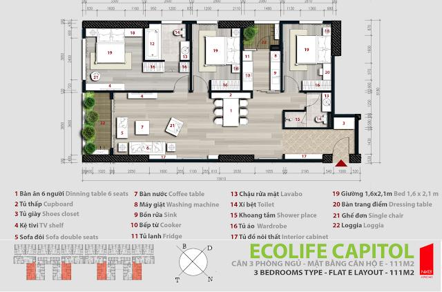 Căn hộ 111m2 - Ecolife Capitol