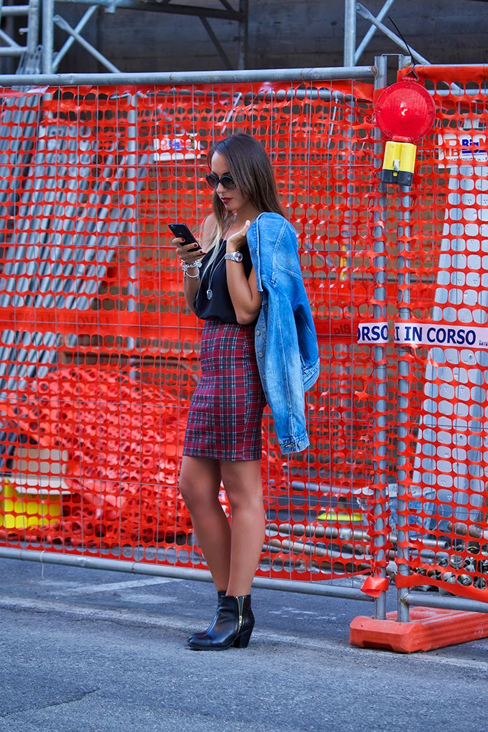 black+tartan dress