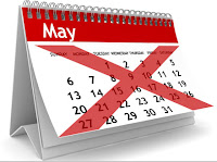 illustration of a May Calendar crossed over