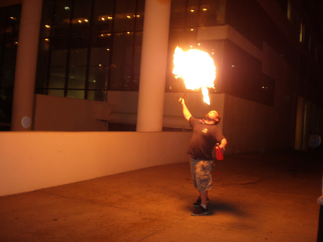 Thud of Stupid Things with Fire blowing a fireball
