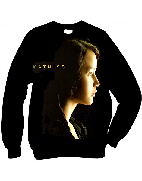 katniss everdeen photo from the trilogy the hunger games on a organic cotton unisex sweatshirt t-shirt top by idilvice