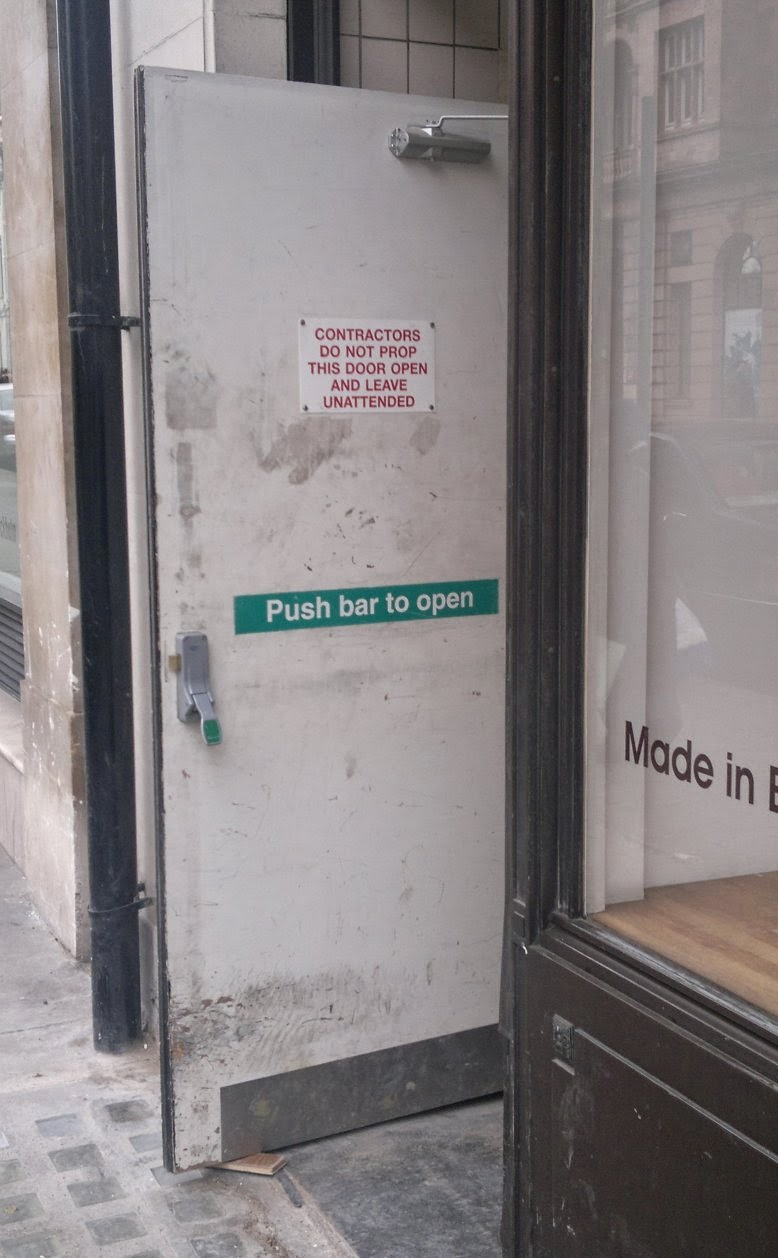 Contractors do not prop this door open and leave unattended