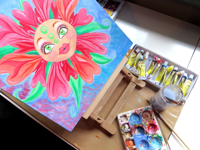 matryoshka doll face flower acrylic painting