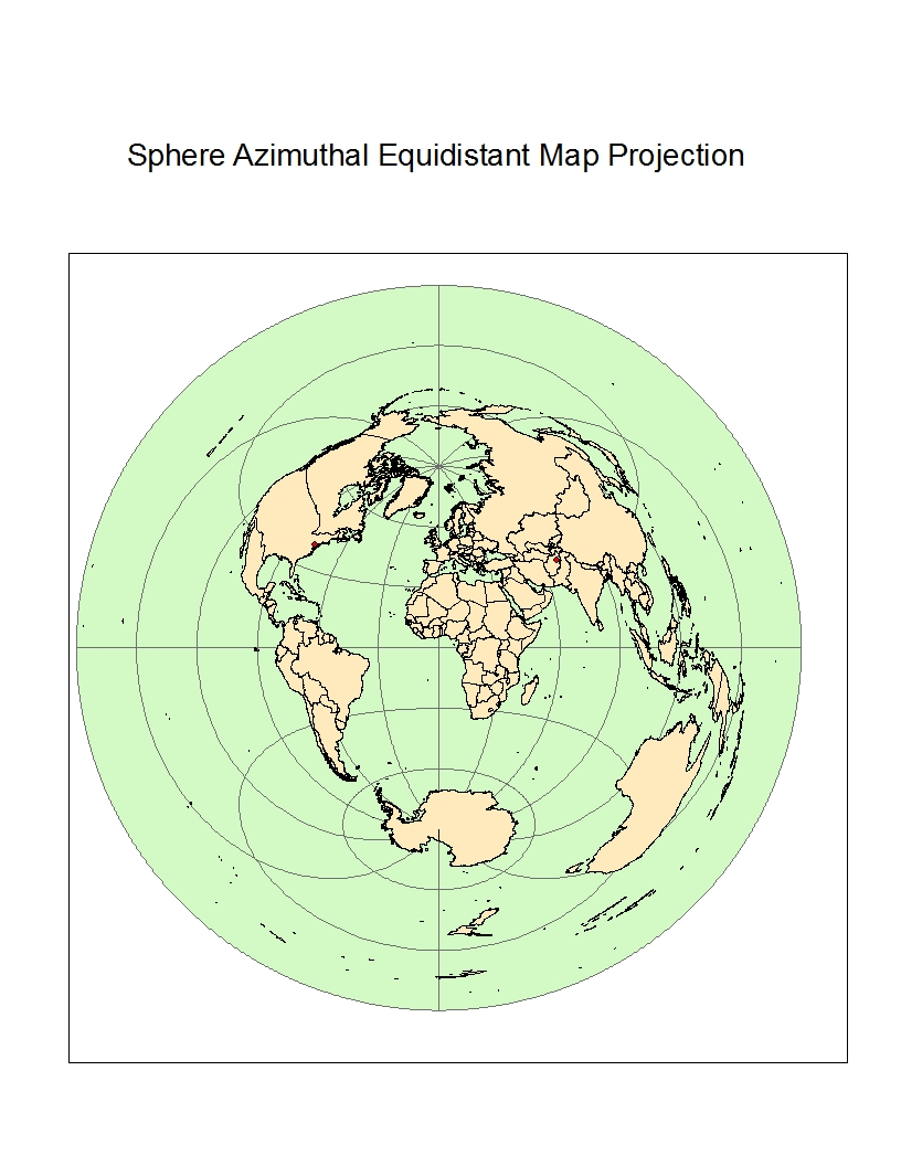 this map is a type of equidistant map it is the sphere azimuthal equidistant map projection the distance from washington d c and kabul afghanistan