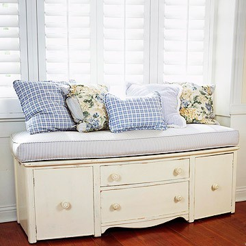 Dresser With Legs Removed And Cushion Added From Bhg