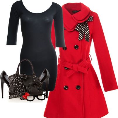Amazing red trench coat, black blouse, high heel and handbag for fall