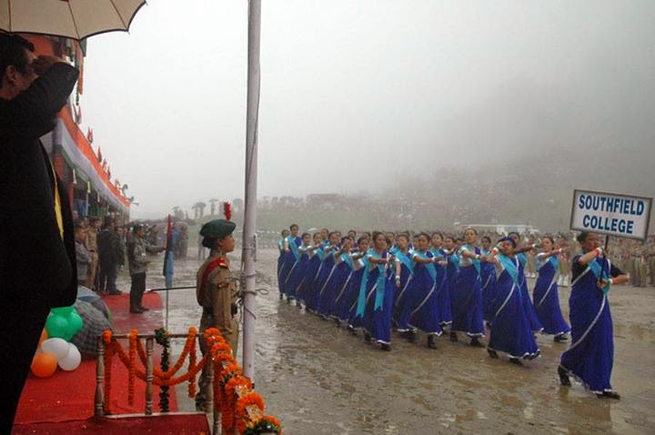 Independence Day celebration in darjeeling lebong southfield college marching on