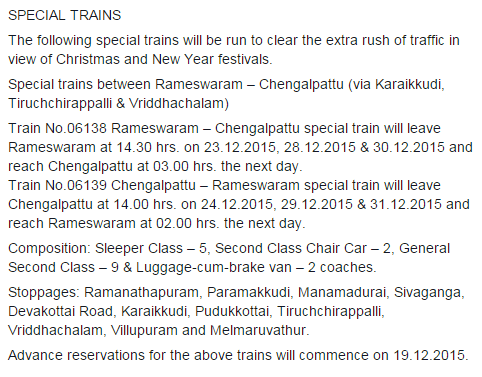 Christmas 2015 New Year 2015 Special trains between Rameswaram and Chennai Chengalpattu (via Karaikkudi, Tiruchchirappalli & Vriddhachalam)