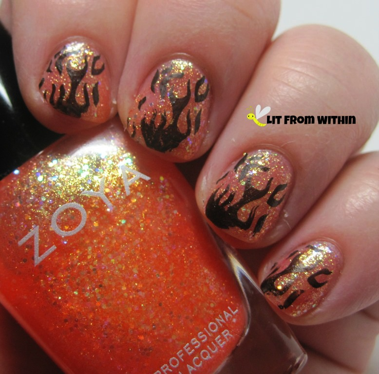 Zoya Jesy, a jelly coral-leaning-orange with lots of glitter