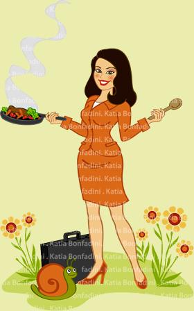 """Ilustração para a """"executiva de panela"""" Paula Couto"""