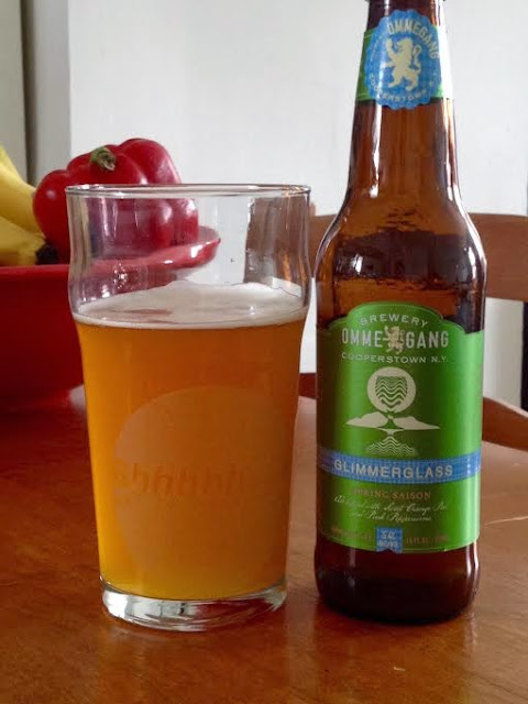 Beer Review (46): Glimmerglass by Ommegang; Brewery: Brewery Ommegang Beer: Saison/Farmhouse Ale | Beer Advocate Score: 86 Abv: 5.4%  This limited run of saison beer is everything I've ever wanted in a spring beer!  Deliciously flavored with pear, citrus and spice, the Glimmerglass is definitely a crowd-pleaser.  AND its the perfect beer to crack open on a warm, spring afternoon.   I tested this out for you guys just in case.  Holy cow, I'm excited about this one and slightly disappointed that it only comes in a 4-pack.  Everything good in moderation.    Fruity, peppery, pours like the honey-colored nectar from the gods that it is.  Buy it quick!