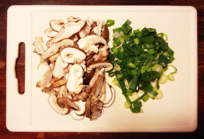 shiitake mushrooms spring onions