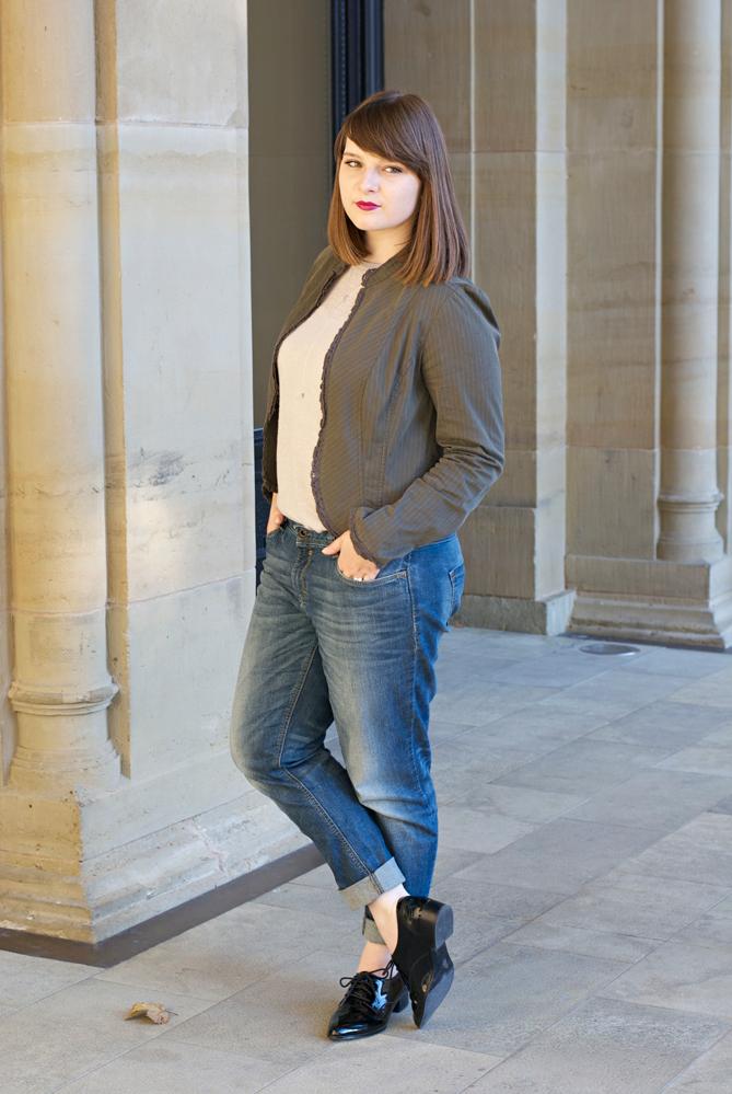 outfit boyfriend jeans blazer