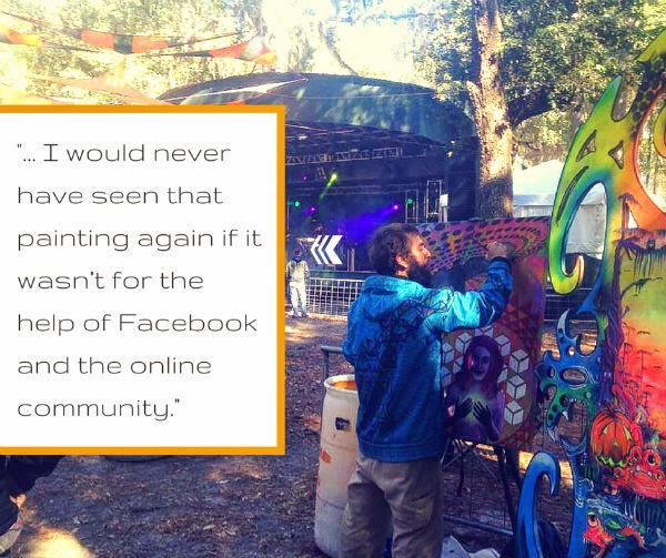 Drake Arnold and his painting at Suwannee Hulaween