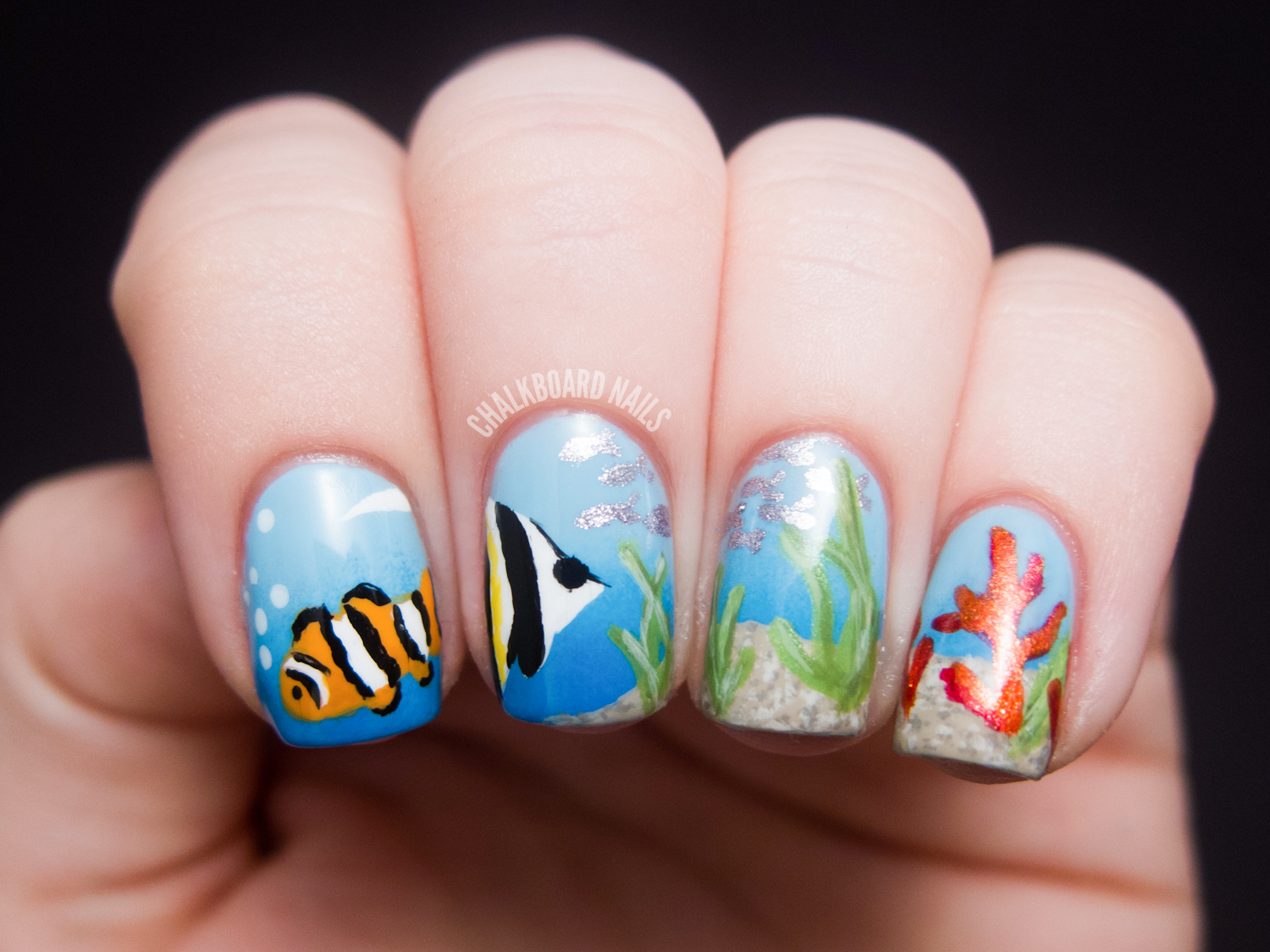 Sea manicure: the best ideas. Manicure with a sea pattern 56