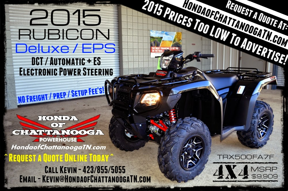 Perfect 2015 Honda Rubicon 500 Deluxe Black For Sale Price TN GA AL Chattanooga