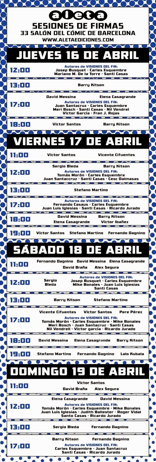 Aleta sesiones de firmas Barcelona 2015
