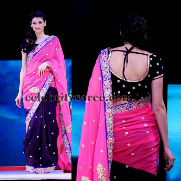 Cut Work Sari with Velvet Blouse