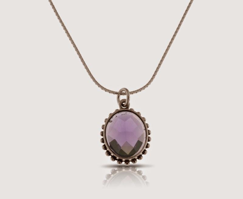 Magnolia Jewellery silver pendant with purple cubic Zirconia