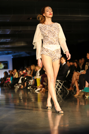 ecofashion week value village thrift chic show, posing in vintage, thrift chic spring looks, pasley body suit