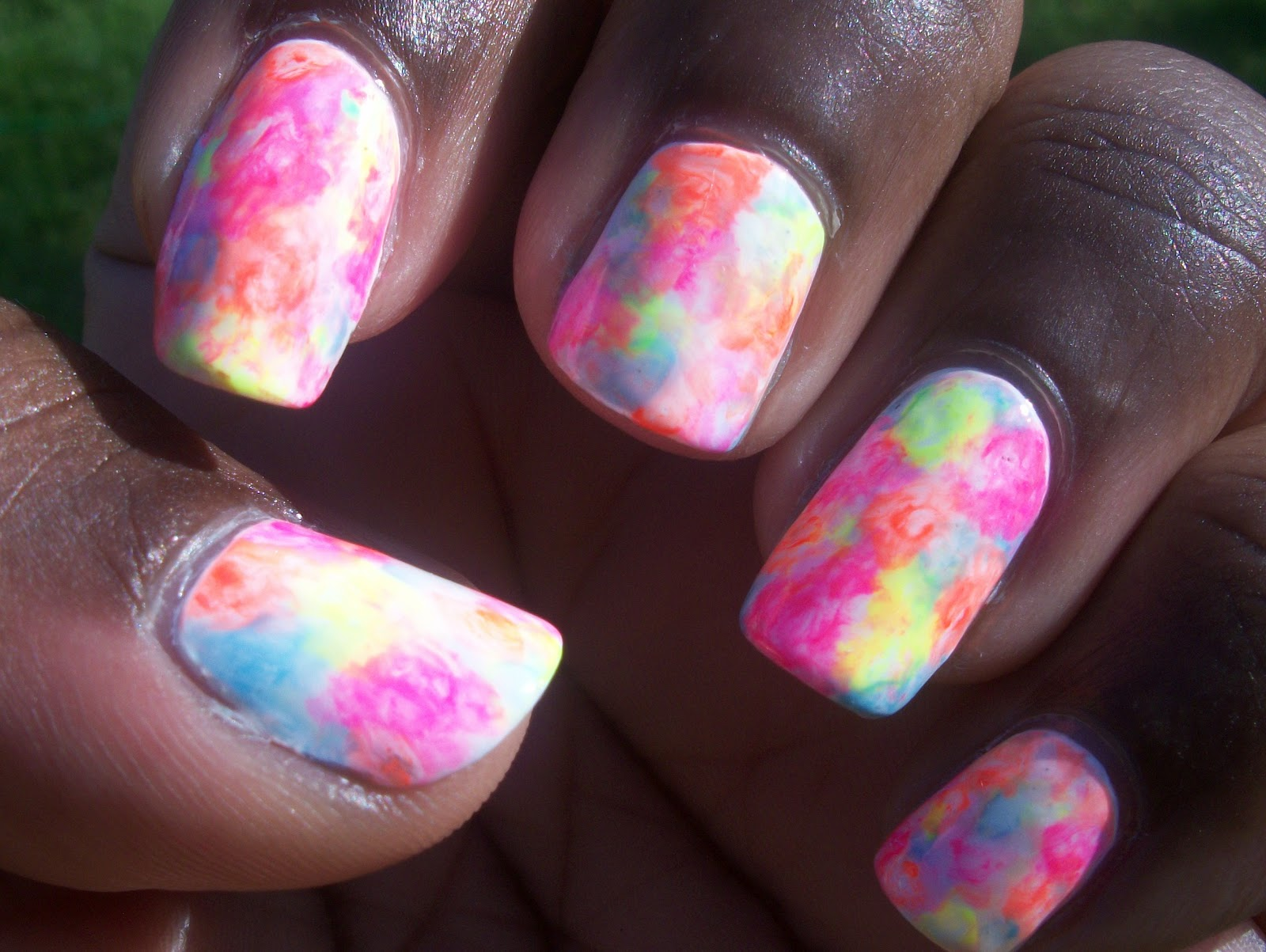 Cdesigns92 Neon Watercolor Nail Art