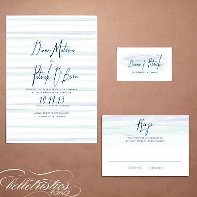 printable diy ombre water color wedding invitation