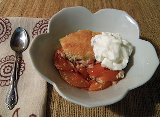 Dish of Cobbler with Spoon