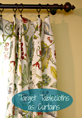 Target tablecloth used a curtain panel via www.goldenboysandme.com