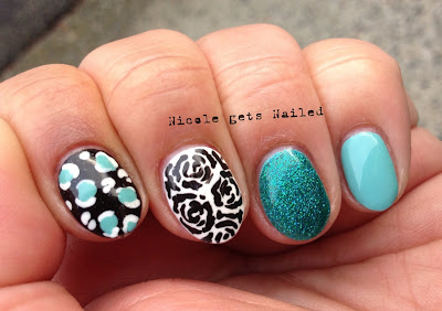 Teal Skittles Black and White Roses Leopard Glitter
