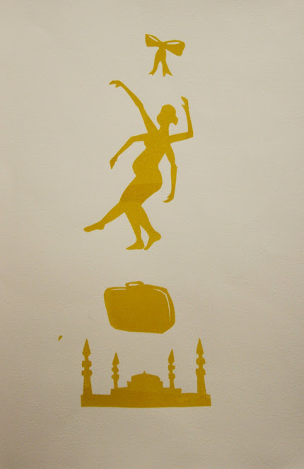 Yellow silhouette screen print