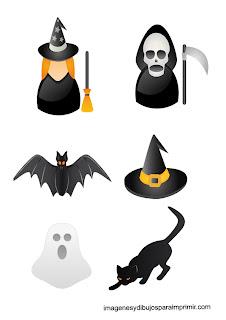 Bruja, gato negro, murcielago,fantasma Pegatinas de halloween para imprimir