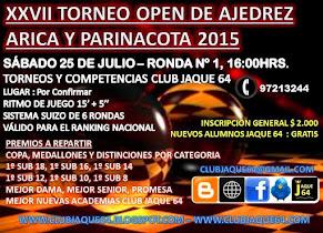 XXVII TORNEO OPEN DE AJEDREZ ARICA Y PARINACOTA 2015