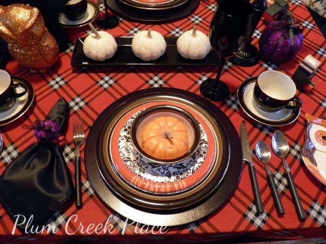 Halloween tablescape, orange, black