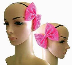 Pink 80s Hair Bow on a Head Band
