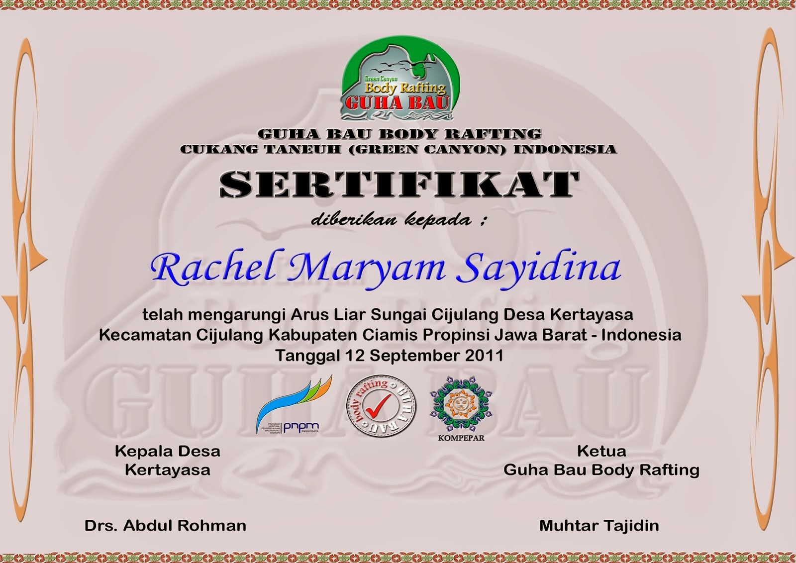 sertifikat body rafting