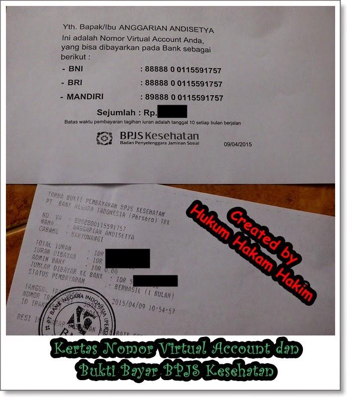 contoh Tampilan Nomor Virtual Account dan Slip Pembayaran Premi Pertama di BNI 46 untuk keperluan BPJS Kesehatan