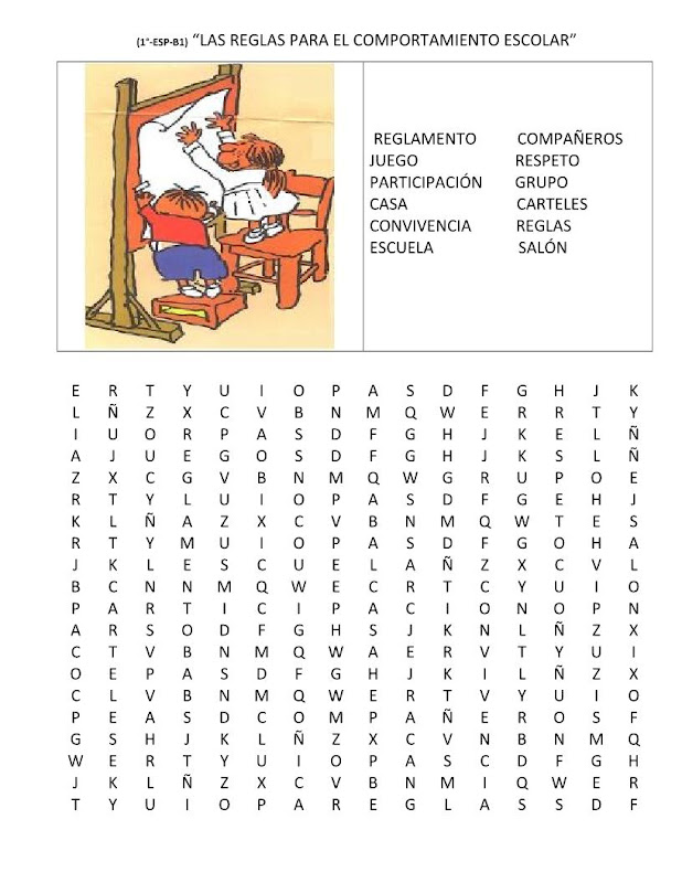 Sopa de letras de las reglas del salón