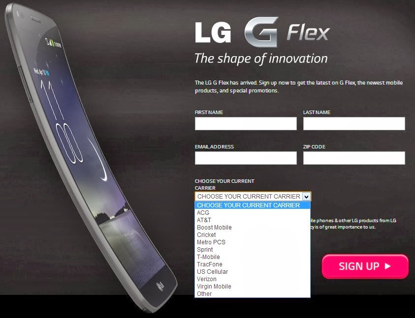 LG G Flex Contract Free offer details in USA