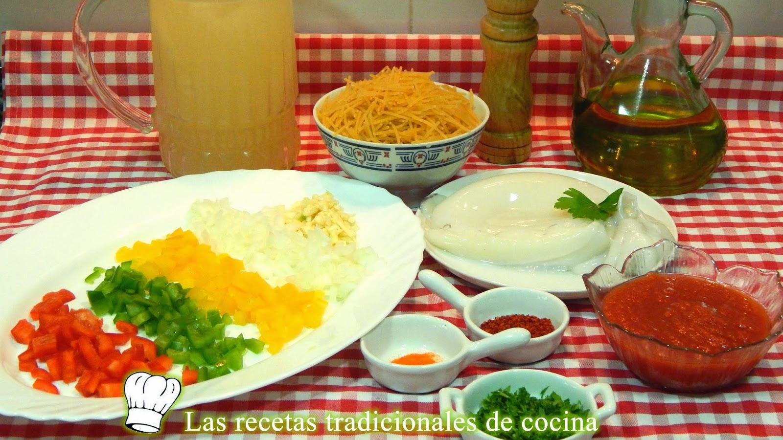 Receta de fideos con sepia y verduras
