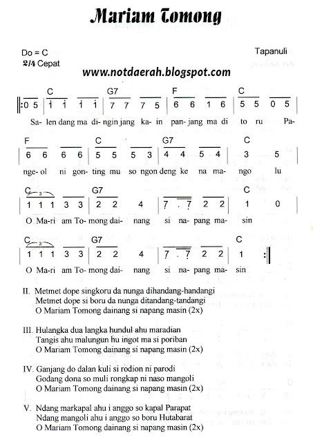 Not Angka Lagu Mariam Tomong