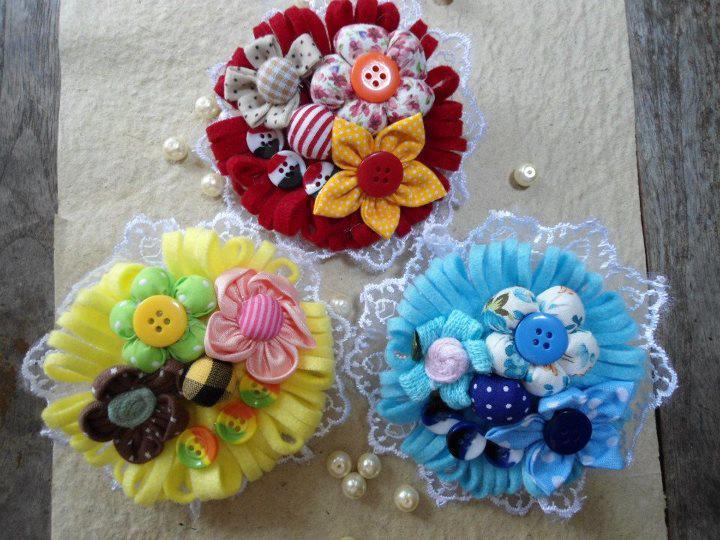 Jual Berbagai Produk Kecantikan: Bross Bunga Kain Perca