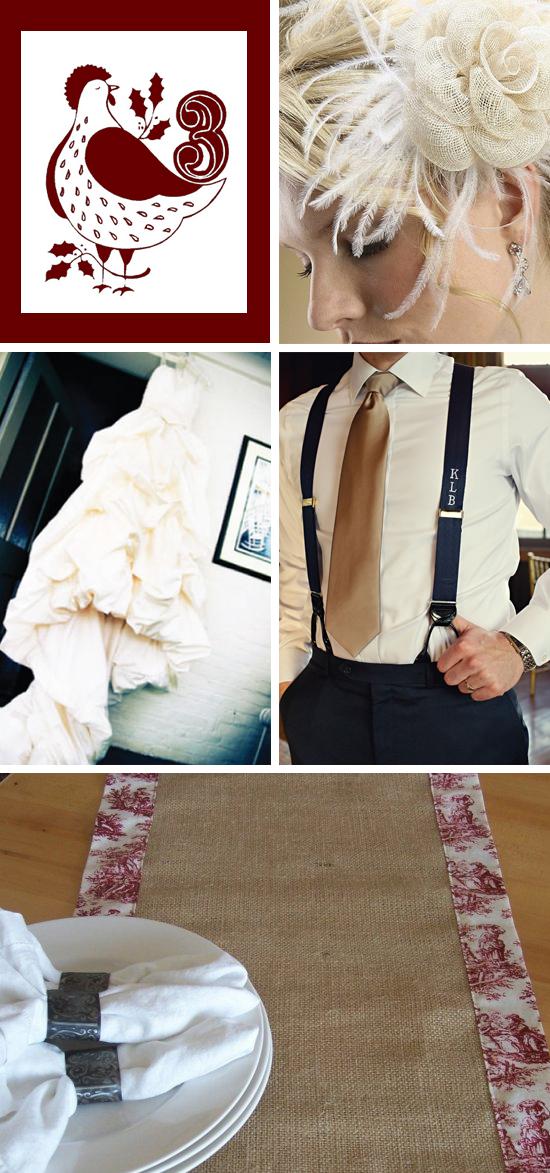 12 Days of Wedding Inspiration...Three French Hens