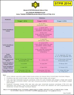 Kalendar Peperiksaan STPM Baharu Tahun 2014