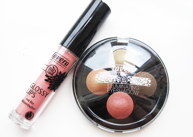 A picture of Lavera Illuminating Eyeshadow Quattro in Indian Dream & Glossy Lips in Rosy Sorbet