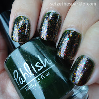 Layering Pahlish Autumn People over Stopped Watch
