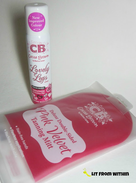 Cocoa Brown Tan - Lovely Legs Spray Tanning Makeup and Pink Velvet Tanning Mitt