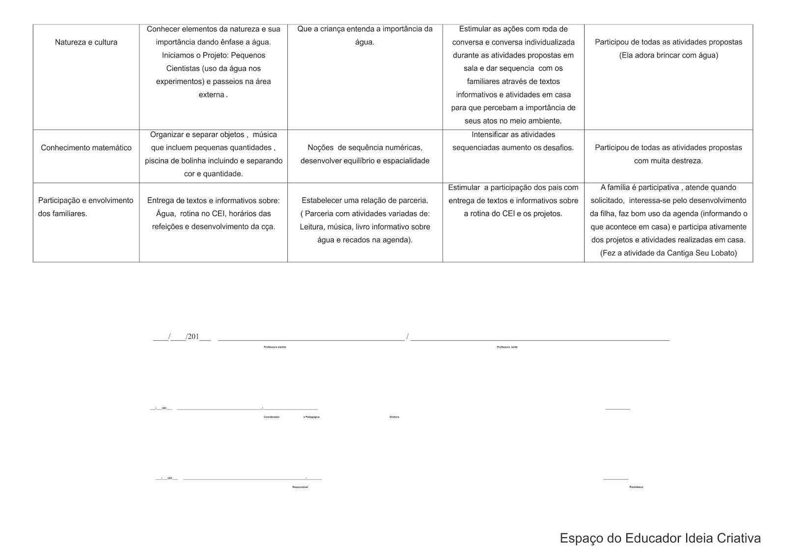 Modelo de Avaliação Individual de Acompanhamento Berçário