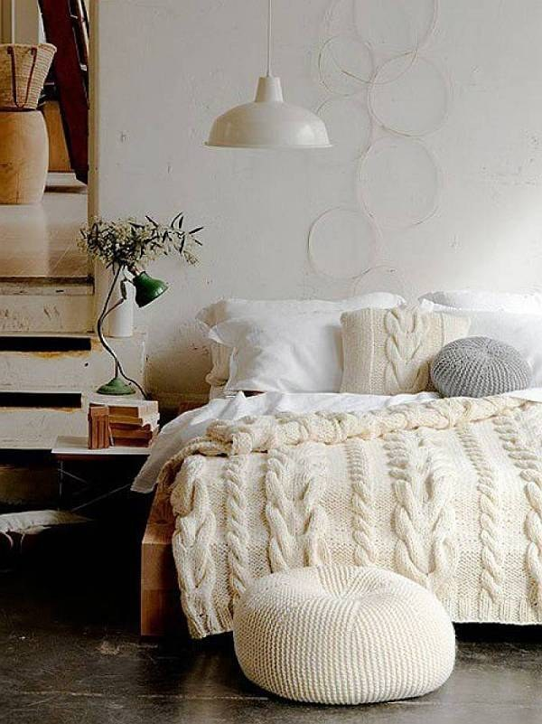 neutral cozy bedroom