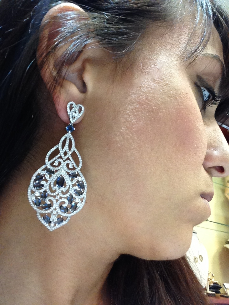 Amazingly Beautiful Diamond Like Chandelier Earrings Hand Crafted In Solid 925 Sterling Silver With White Gold Overlay Containing Simulated